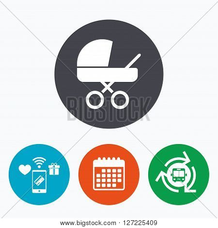 Baby pram stroller sign icon. Baby buggy. Baby carriage symbol. Mobile payments, calendar and wifi icons. Bus shuttle.