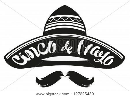Cinco de Mayo. Mexican wide brimmed hat sombrero. Lettering text header for greeting card. Isolated on white vector illustration