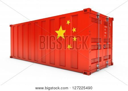 China Export Concept. Shipping Container with China Flag on a white background. 3d Rendering