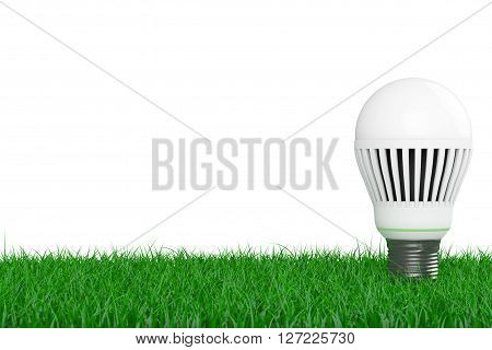 Ecology Energy Save Concept. Led Bulb over Grass on a white background. 3d Rendering