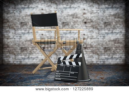Director Chair Movie Clapper and Megaphone on a grunge background. 3d Rendering