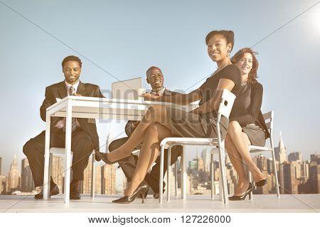 Building Colleagues Teamwork New York Desk Concept