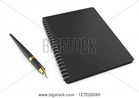 Personal Diary or Organiser Book with Pen on a white background. 3d Rendering