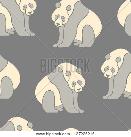 Seamless pattern with hand drawn pandas. Vector illustration isolated on white. Cute sitting panda