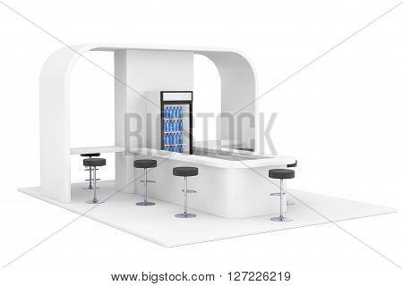 Bar Cafe Cafeteria Fast Food Inerior Concept on a white background. 3d Rendering