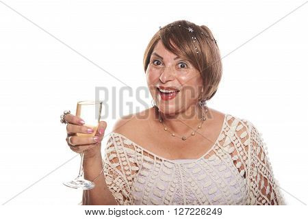 Mature Lady With Glass