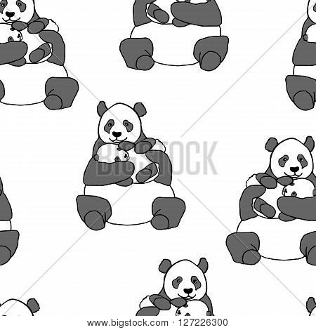 Seamless pattern with panda holding cub. Hand drawn vector illustration isolated on white. Cute mother panda with little baby