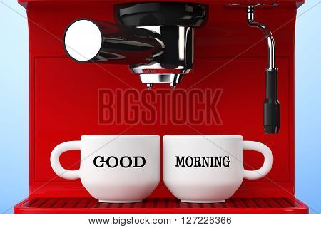 Espresso Coffee Making Machine and Cups with Good Morning Sign extreme closeup. 3d Rendering