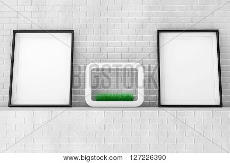 Blank Picture Frames with Grass in White Ceramics Planter on the Brick Wall extreme closeup. 3d Rendering