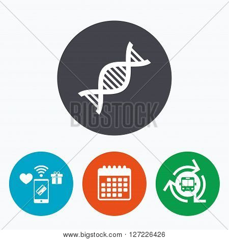 DNA sign icon. Deoxyribonucleic acid symbol. Mobile payments, calendar and wifi icons. Bus shuttle.