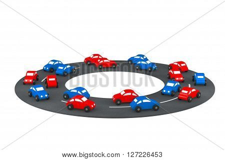 Multicolour Cartoon Toy Cars on the road on a white background. 3d Rendering