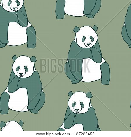 Seamless pattern with hand drawn pandas. Vector illustration on green background. Cute sitting panda