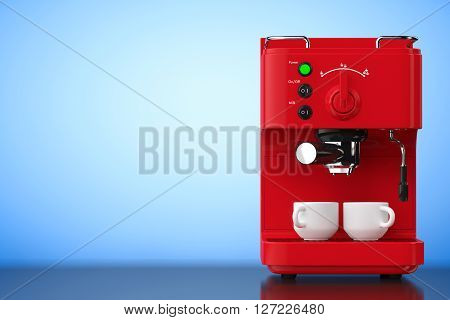 Espresso Coffee Making Machine on a blue background. 3d Rendering