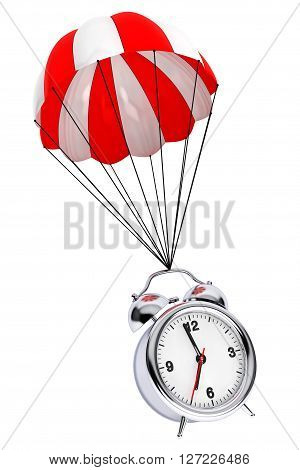 Red and White parachute with Alarm Clock on a white background. 3d Rendering