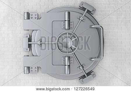 Metallic Bank Vault Door in front of Brick Wall. 3d Rendering