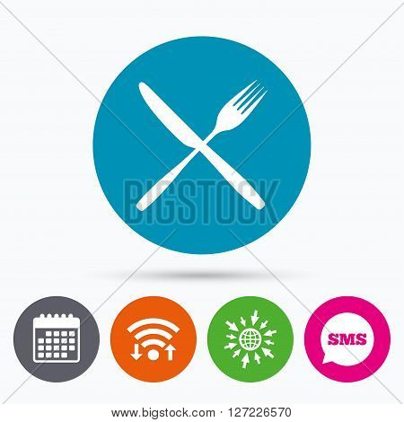 Wifi, Sms and calendar icons. Eat sign icon. Cutlery symbol. Fork and knife crosswise. Go to web globe.