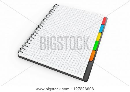 Personal Diary or Organiser Book with Blank Pages on a white background. 3d Rendering