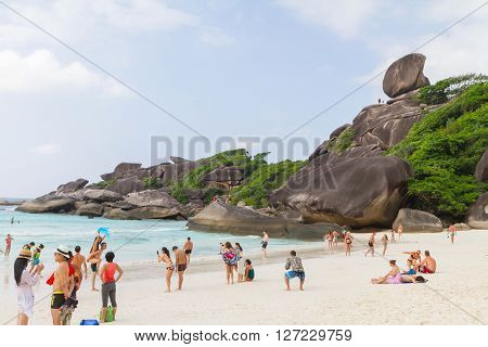 Similan Island,Phang Nga,Thailand - December 17,2013 :Unidentified Tourism swiming at the beaufiful islands