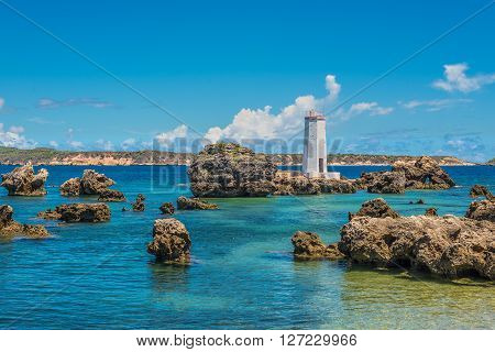 The lighthouse of Cap Andranomody near Ramena village in the north of Madagascar.