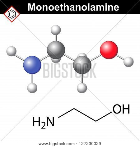 Ethanolamine molecular structure 2d and 3d vector isolated on white background eps 8