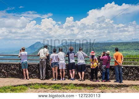 Gorges Viewpoint Mauritius - December 26 2015: People watching for Black River Gorges National Park Gorges Viewpoint in Mauritius.