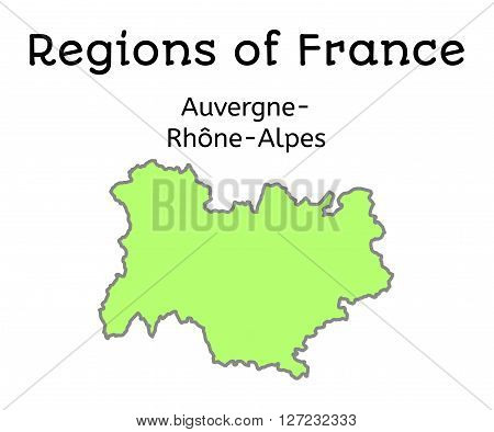 France administrative map of Auvergne-Rhone-Alpes region on white