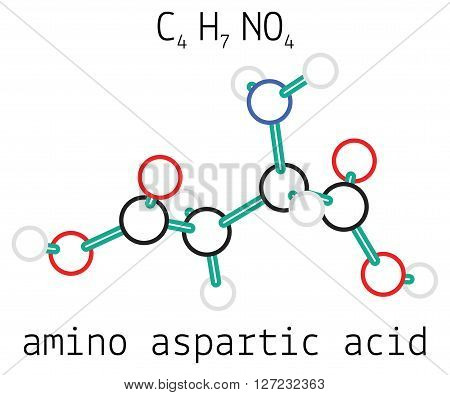 C4H7NO4 aspartic acid 3d amino acid molecule isolated on white