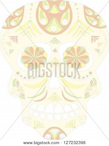Mexican skull, Day of the Dead, souls of dead, skull on white background, vector