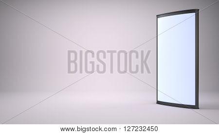 Advertising empty lightbox in the studio. 3D rendering