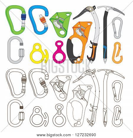 Collection of climbing equipment vector, flat color and outline versions