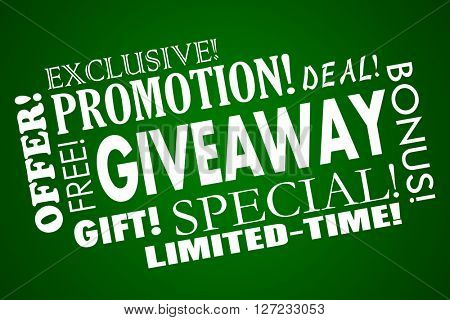 Giveaway Free Promotion Special Offer Limited Time Deal Word Collage
