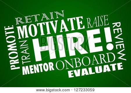 Hire Word Collage Employees Motivate Promote Retain Workers