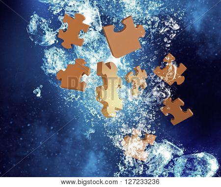 Jigsaw elements under water