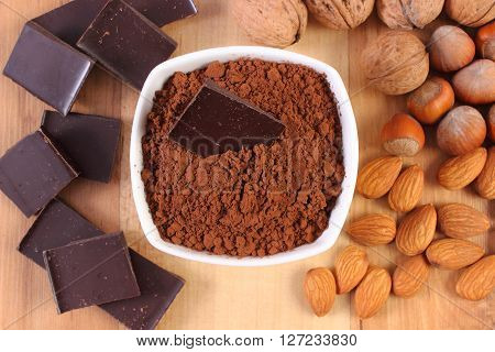 Natural ingredients and products containing magnesium healthy food and nutrition hazelnut walnut almonds cocoa chocolate