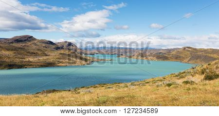 gorgeous panorama of lake pehoe in torres del paine national park patagonia chile
