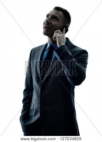 business man telephone silhouette isolated