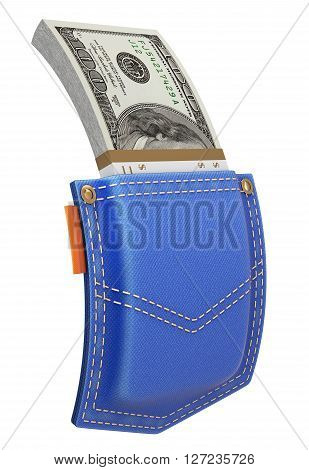 Stack of dollars in blue jeans back pocket isolated on white background - 3D illustration
