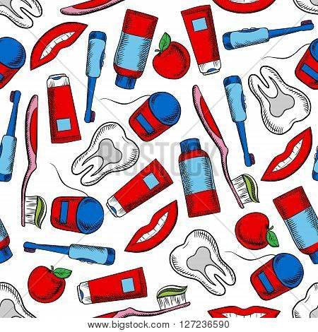 Oral hygiene and dental care colorful background with sketchy seamless pattern of healthy teeth, toothbrushes, floss boxes, toothpaste, pretty smile and red apples fruits. May be used as dentistry, health care theme or textile print design