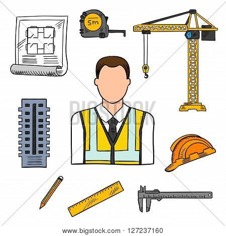 Civil engineering professions design of architectural engineer in yellow high visibility vest with architects drawing, pencil, ruler, building, protective hard hat, measure tape and vernier caliper. Sketch style