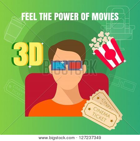 Man Watching A 3D Movie At Cinema Flat Design Illustration. Trendy Concept Design Of Movie Watching