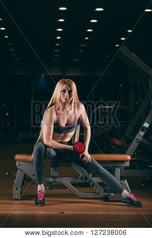 Brutal athletic woman pumping up muscles with dumbbells in gym.