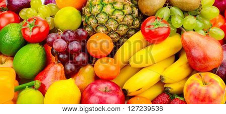 Collection juicy fruits and vegetables