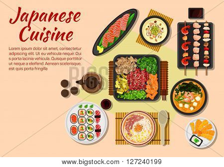 Japanese stylized grilled beef yakiniku flat icon served with fresh vegetables and herbs, salmon sashimi, sushi plate, fried shrimps with sesame seeds, yakitori skewers, miso shiitake cream soup with prawns, soba miso tofu soup and teriyaki beef noodles w