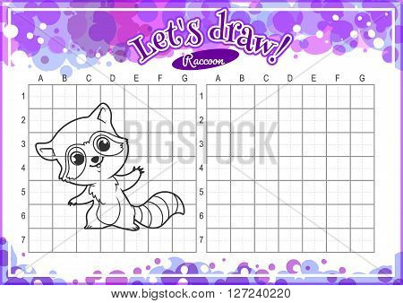 Educational game for kids. How to draw cute cartoon raccoon. Drawing with grid. Worksheet for class or at home with the kids. A4 size. Horizontal orientation.