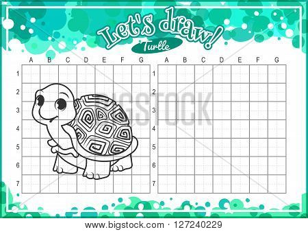 Educational game for kids. How to draw cute cartoon turtle. Drawing with grid. Worksheet for class or at home with the kids. A4 size. Horizontal orientation.