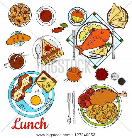 Healthy lunch menu icon with colorful sketches of fried egg with bacon and toast with cheese, baked fish, served with potato, pasta with tomatoes and chicken leg, cups of coffee and tea with apple pie, cookies, sweet bun and candies
