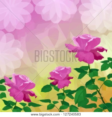 Holiday Low Poly Background with Flower Rose and Abstract Floral Pattern. Vector