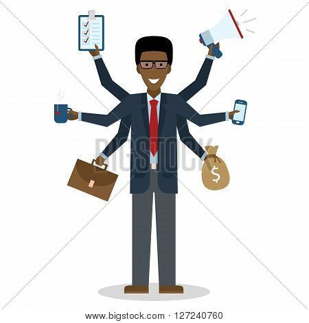 Multitasking african american man with six hands standing on white background.