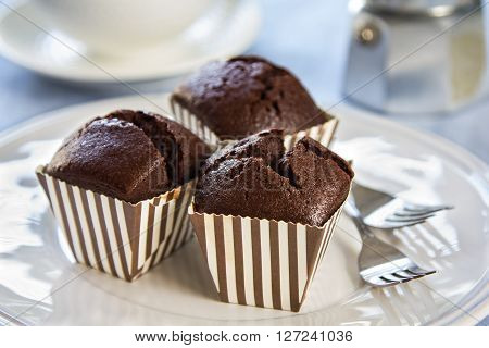 Homemade Chocolate cupcakes in brown stripe cup