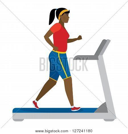 African american girl running on treadmill on white.